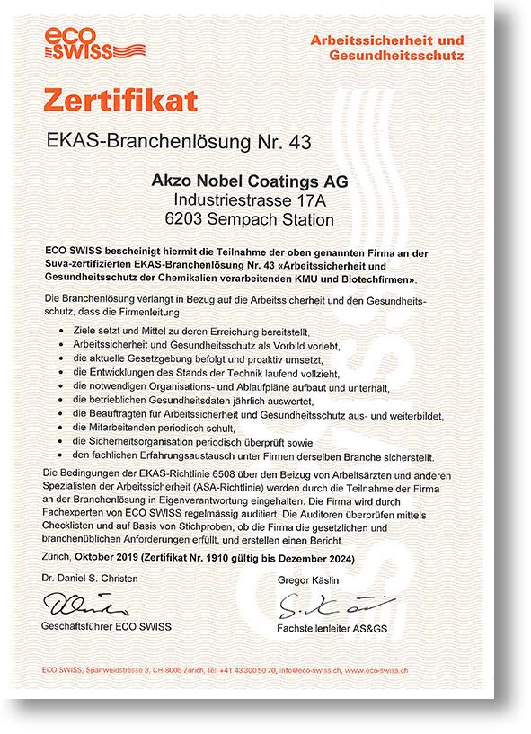 eco swiss zertifikat d