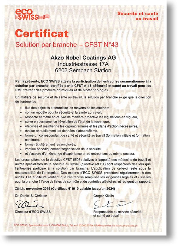 eco swiss certificat f